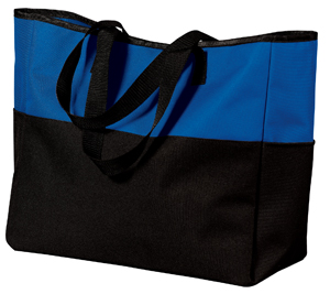 ; Port & Company; Bi Color Tote with Zippered Pocket. B515
