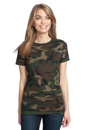 District Made ; Ladies Perfect Weight Camo Crew Tee. DM104CL