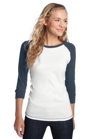District; Juniors 3/4 Sleeve Cotton Raglan Tee. DT226