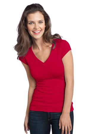 District; Juniors Cotton/Spandex Banded V Neck Tee. DT247