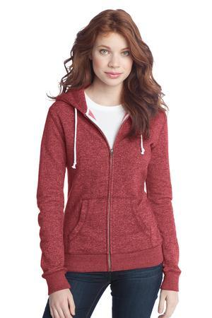 District; Juniors Marled Fleece Full Zip Hoodie. DT292