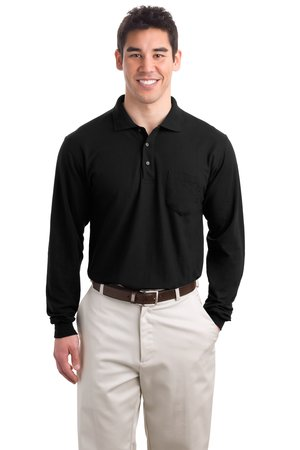 ; Port Authority; Long Sleeve Silk Touch Polo with Pocket. K500LSP