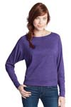 District; Juniors Textured Wide Neck Long Sleeve Raglan. DT272