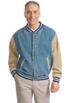 ; Port Authority; Denim and Twill Letterman Jacket. J761