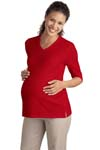 ; Port Authority; Ladies Silk Touch Maternity 3/4 Sleeve V Neck Shirt. L561M