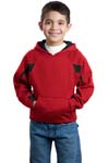 Sport Tek; Youth Color Spliced Pullover Hooded Sweatshirt. Y266