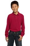 ; Port Authority; Youth Long Sleeve Pique Knit Polo. Y320