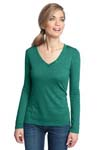 District Made ; Ladies Textured Long Sleeve V Neck with Button Detail. DM472
