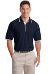 ; Port Authority; Silk Touch Polo with Stripe Trim. K501