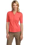 Port Authority ®; Ladies Silk Touch Interlock Button Front Polo. L523