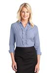 Port Authority; Ladies Crosshatch Ruffle Easy Care Shirt. L644