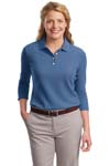 Port Authority; Ladies EZCotton Pique 3/4 Sleeve Polo. L801