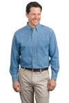 Port Authority; Long Sleeve Denim Shirt. S600